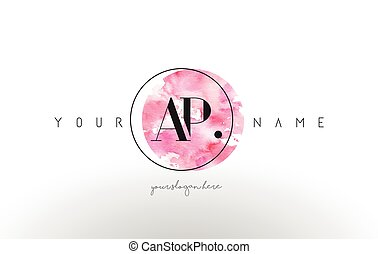 AP Letter Logo Design with Watercolor Circular Brush Stroke....