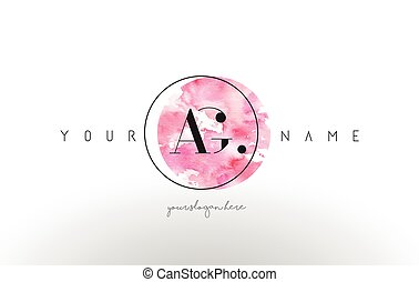 AG Letter Logo Design with Watercolor Circular Brush Stroke....