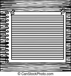 monochrome striped notebook sheet in blank on wood board...