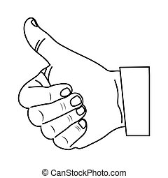 monochrome contour with hand thumb up