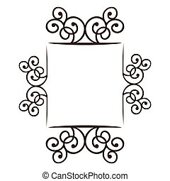 silhouette square frame decorative ornament swirl design