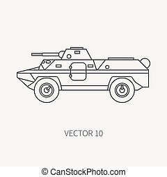 Line flat plain vector icon infantry assault armored army...