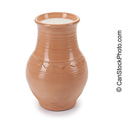 rustic milk in a clay pot isolated on white background