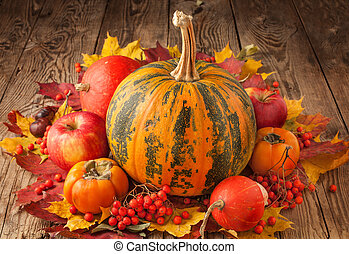 autumn background with leaves and pumpkins, thanksgiving and halloween card