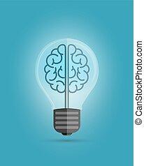 Bulb Brain - Light bulb with a brain inside, creating ideas,...