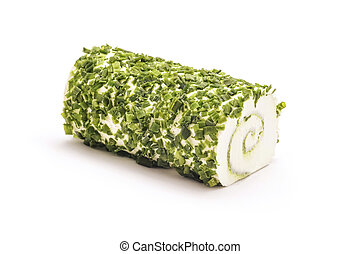cheese roll - green herbs cheese roll isolated