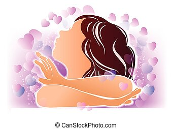 Silhouette of girl and hearts - Color silhouette little cute...