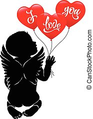 Angel baby and three red balloon I love you.