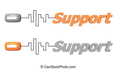 Word Support Connected to a Mouse - Orange and Grey