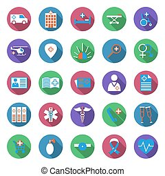 Set of medicine icons. Collection of medical equipment icons...