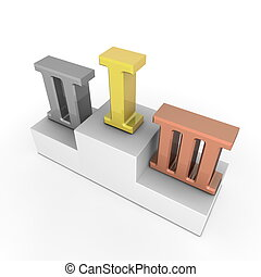 Victory Podium - Roman Numbers 1, 2, 3 - Gold, Silver, Bronze