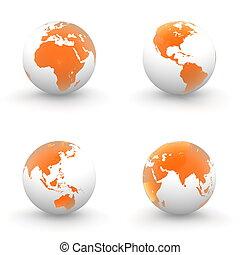 3D, globos, blanco, brillante, transparente, naranja