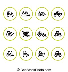 Set round icons of tractors, farm and buildings machines,...