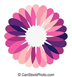 purple circular frame formed by petals with white circle...