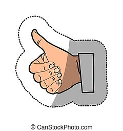 color sticker silhouette with hand thumb up