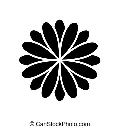 black silhouette flower formed by petals set vector...