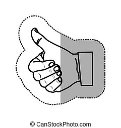 monochrome contour sticker with hand thumb up