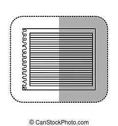 monochrome sticker of striped notebook sheet in blank vector...