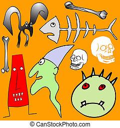 various Halloween elements - vector