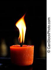 vita, fiammeggiante, religione, pregare, Candela, ancora, rosso, bello