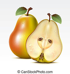Pears - Two yellow pears on a white background