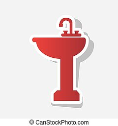 Bathroom sink sign. Vector. New year reddish icon with...
