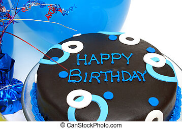 Blue Birthday Cake - A blue decorated cake with happy...