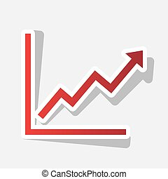 Growing bars graphic sign. Vector. New year reddish icon with outside stroke and gray shadow on light gray background.