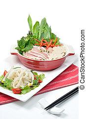 Vietnamese food set, PHO white noodles with pork soup.