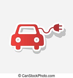 Eco electric car sign. Vector. New year reddish icon with...