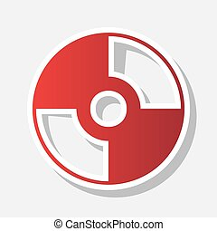Vector CD or DVD sign. Vector. New year reddish icon with...