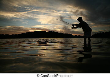 Fly fishing - Man fly fishing