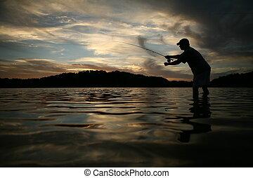 Fly fishing - Man fly fishing