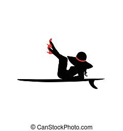 women posing on surfboard in red shoes vector