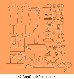 Sewing workshop equipment. Outline tailor shop design elements. Tailoring industry dressmaking tools icons. Fashion designer sew items