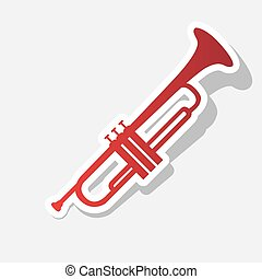 Musical instrument Trumpet sign. Vector. New year reddish...