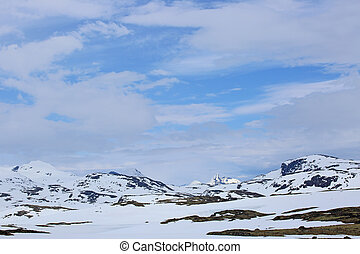 Spring Norway landscape with mountaind and valley with...