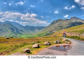 Langdale valley in Great Britain