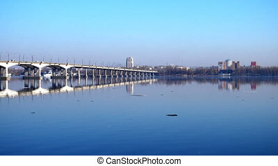view of river Dnipro bank and the bridge at the Dnipro city...