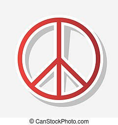 Peace sign illustration. Vector. New year reddish icon with...