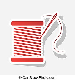Thread with needle sign illustration. Vector. New year...