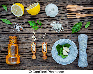 The ingredients for homemade pesto sauce. Various herbs...