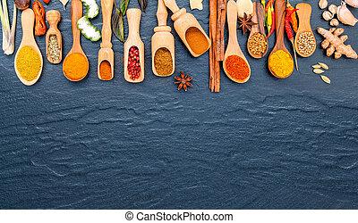de madera, cucharas, hierbas, indio, vario, especias