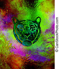 head of a young tiger on abstract background with graphic structure effect.