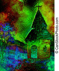 mystical belfry with lights of space, graphic collage from painting.