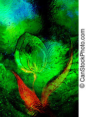 dancing tulip flower motive on abstract background, space collage and glass effect.