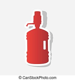 Plastic bottle silhouette with water and siphon. Vector. New...