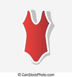 Woman`s swimsuit sign. Vector. New year reddish icon with outside stroke and gray shadow on light gray background.