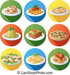 Set of food icons. Italian cuisine
