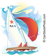 Sailing Ship - Illustration of sport sailing boat on a sea...
